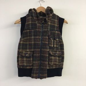 Zara Hooded Brown Tweed vest Size M (fits small)
